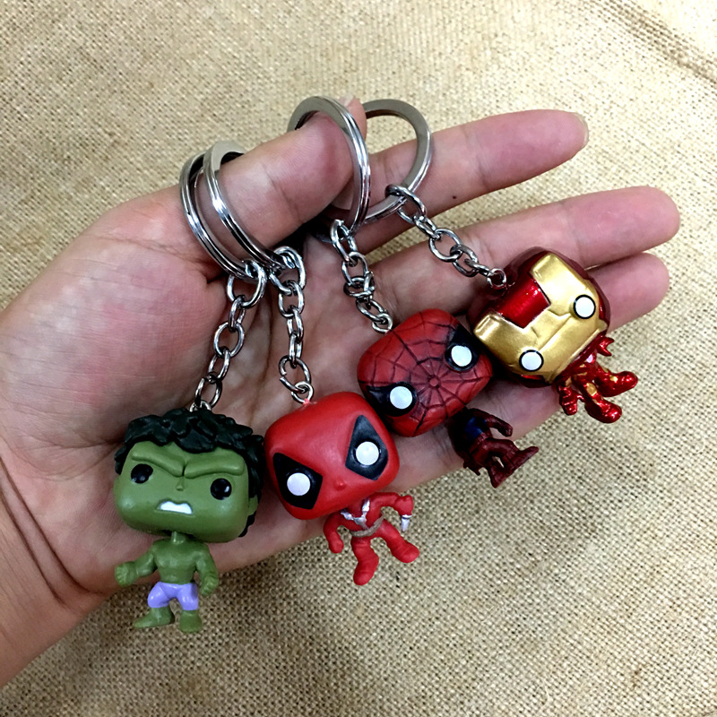 2019 Fashion New Pop Toys Keychain Marvel Captain America Iron Man Key Ring Kids Wonder Women Key Chain Bag Pendant Jewelry