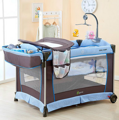 costway n crib bassinet play baby ip light cribs playard blue foldable pack