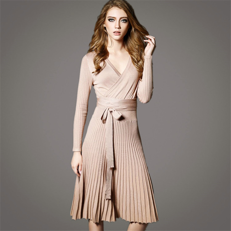 2016 Autumn New Casual Vintage Sexy Bodycon Slim Flare Deep V Neck Pleated Sash Long Sleeve Women Knee Length Knitted Dress