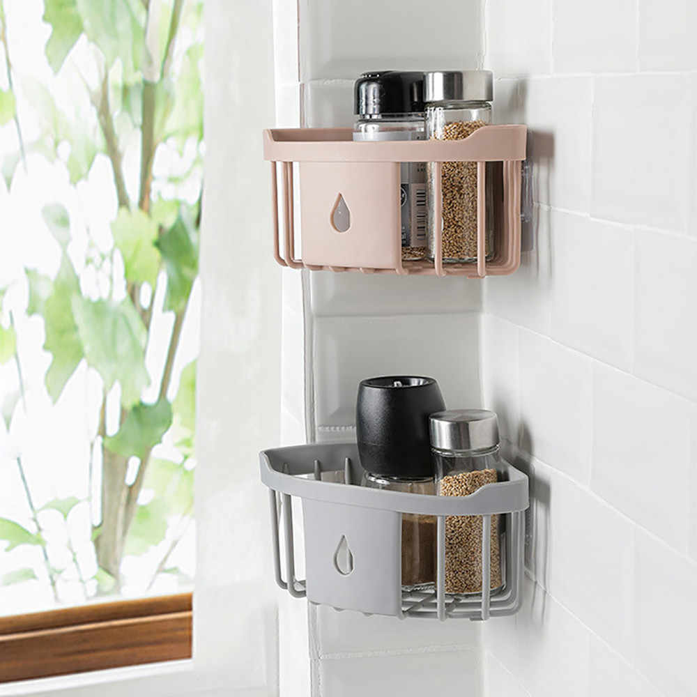 Practical bathroom storage Plastic Bathroom Kitchen  Storage Rack Organizer Shower Shelf bathroom storage suction shelf#35