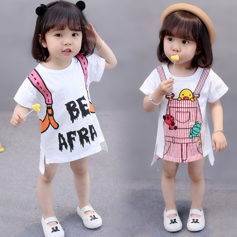 2019 Summer 1 6 Years Old Toddler Children Clothes Child Clothing Girls Cartoon Print Cotton Dress Baby Long t shirt Dresses in Dresses from Mother Kids