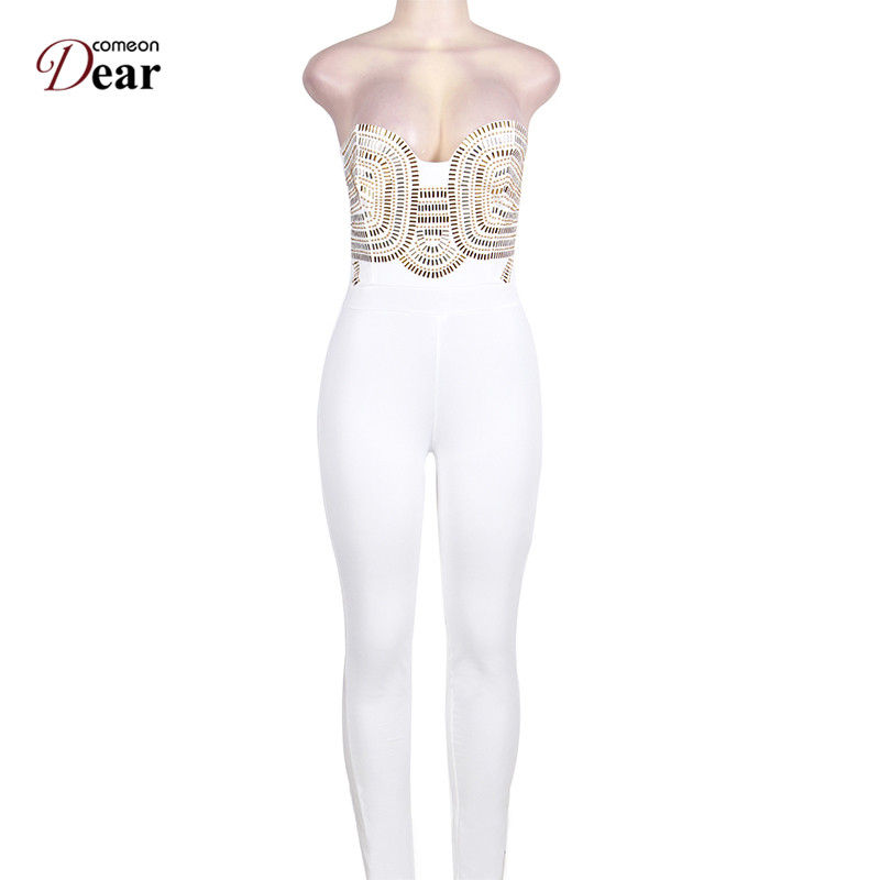 f42261ecabf Comeondear White Women Jumpsuit Long Sex Strapless P80328 Elegant Gold  Embellished Jumpsuit Sequined Off Shoulder Long Playsuits-in Jumpsuits from  Women s ...