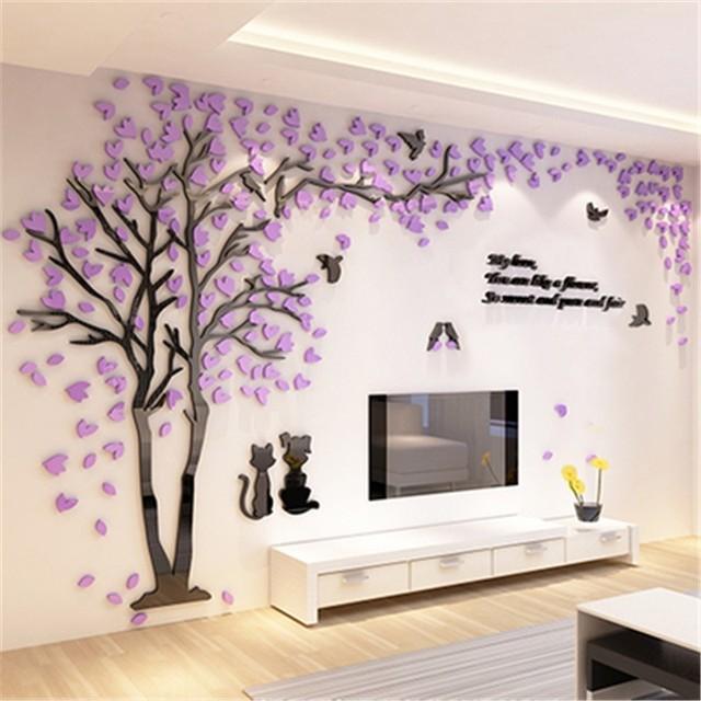 Superb Casal Criativo Árvore Adesivo 3D Estéreo Acrílico Adesivos De Parede Home  Decor Fundo TV Sala De