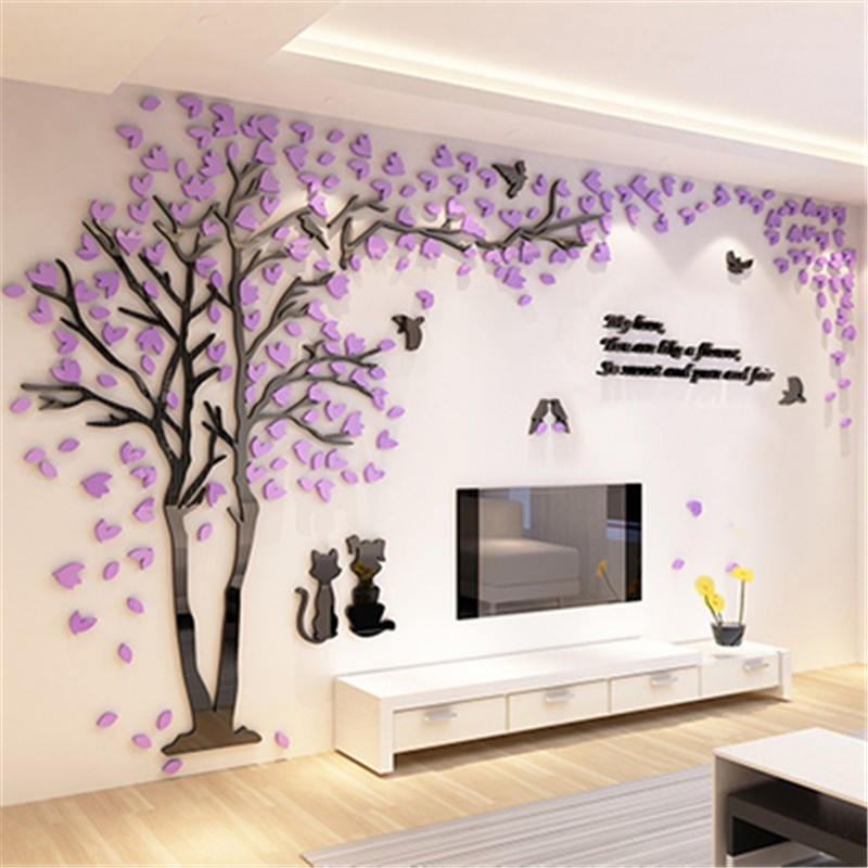 Creative couple tree 3d sticker acrylic stereo wall for Bedroom wall designs for couples