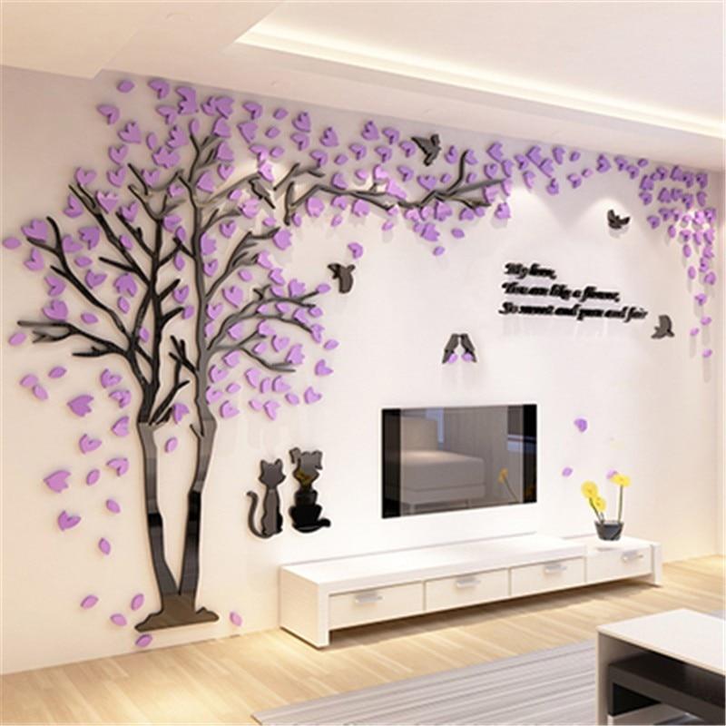 Creative Couple Tree 3D Sticker Acrylic Stereo Wall ... on Room Decor Stickers id=90849