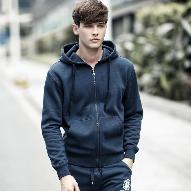 2018 new stock spring autumn wide men's casual zipper cotton hoodie free shipping