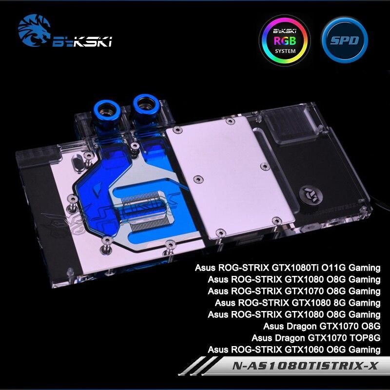 Bykski N AS1080TI STRIX X, полное покрытие графическая карта блок водяного охлаждения для Asus ROG STRIX GTX1080Ti/1080/1070/1060,Dragon GTX1070