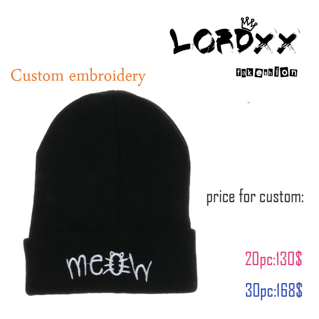 838cafe881530 Olddays 2017 new fashion meow letter embroidery acrylic beanie hats cap  factory small wholesale accept min