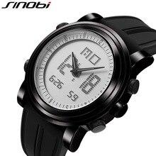Hot SINOBI Men's Sport Watch Digital Shock Resistant High-Tech Double Mmovement Clock Military Silicone Band Relogio Masculino