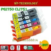 Pgi750 cli751 용 5pk 풀 잉크 리필 카트리지 슈트  arc 칩이있는 canon pixma ip7270  mg5470 용 슈트