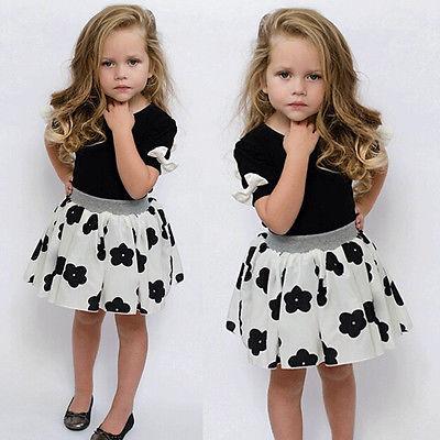 100% Wahr 2016 Kleinkind Mädchen Kinder Prinzessin Partei Kleidung Schwarzes T-shirt Tops + Weiße Blume Gedruckt Rock 2 Stücke Outfits Ein Unverzichtbares SouveräNes Heilmittel FüR Zuhause