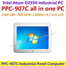 Все В Одном Компьютере 9.7 дюймов Intel atom D2550 промышленного панели пк с сенсорным экраном сопротивления 32 Г SSD 2 Г RAM с фронтальной Камерой