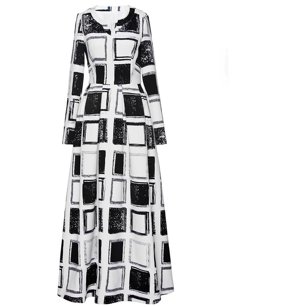 Платье макси с длинным рукавом 2018 осень зима размера плюс женская одежда винтажные черные белые клетчатые вечерние платья с принтом длинно... - 5