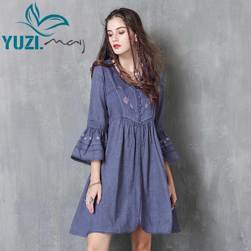 נשים שמלה 2017 Yuzi. may Boho ניו כותנה פרח רקמת אבוקה שרוול צווארון V אונליין גבוה מותן Vestidos שמלות A82052