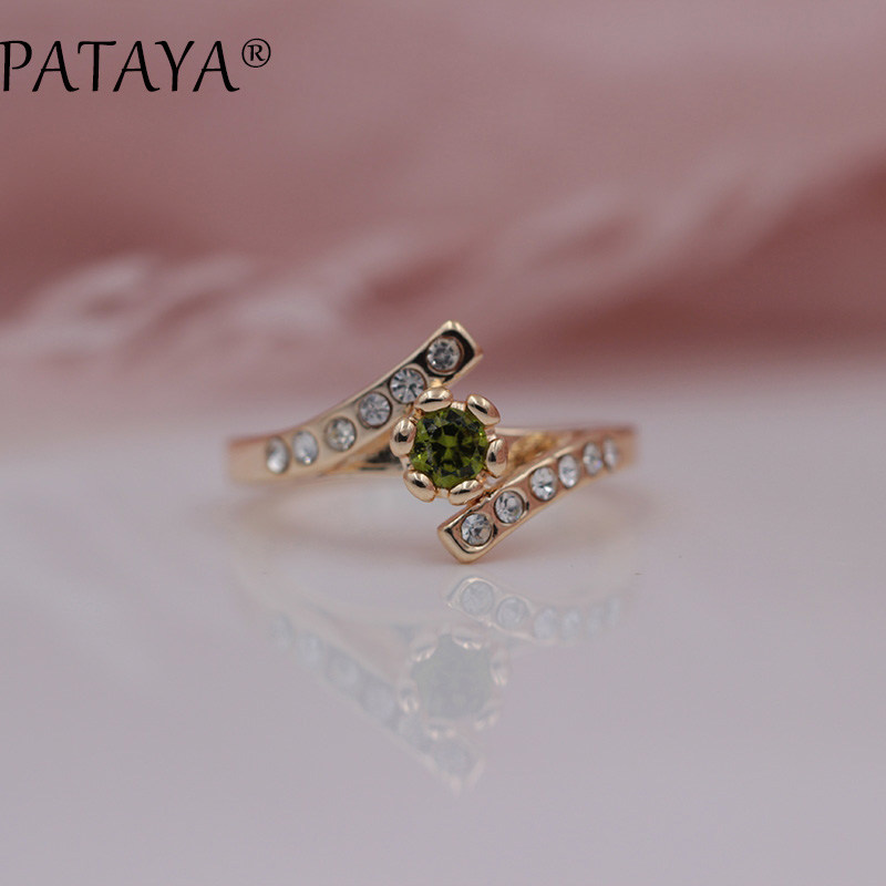 PATAYA New Special Offer White Rhinestones 585 Rose Gold Round Olive Green Natural Zirconia Rings Women Wedding Party Jewelry