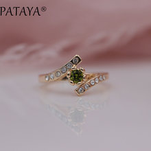 PATAYA New Special Offer White Rhinestones 585 Rose Gold Round Olive Green Natural Zirconia Rings Women Wedding Party Jewelry(China)