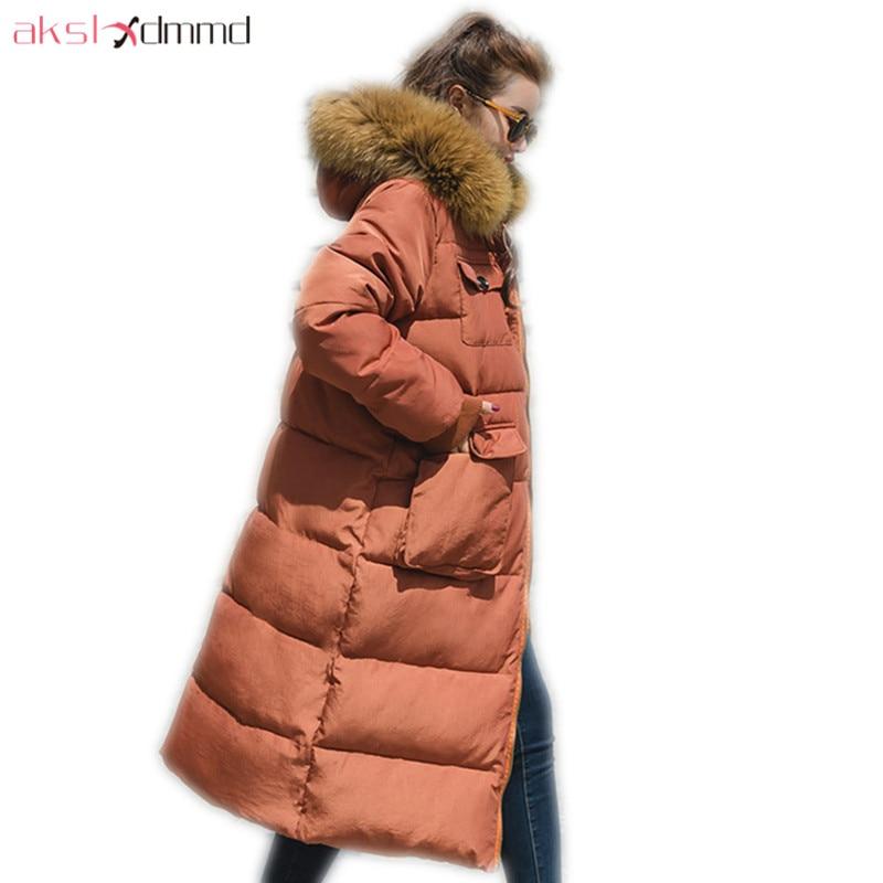 AKSLXDMMD 2019 New Parkas Women Fashion Winter Coat Women Think Jacket Fur Collar Hooded Long Jackets and Coats Female LH1290