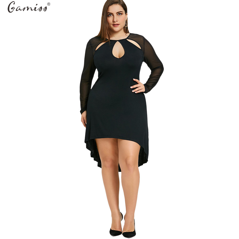 Gamiss Women Plus Size Sheer Keyhole High Low Dress Vintage Bodycon ...