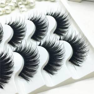 Image 1 - 5 пар искусственных 100% норковых угловых густых накладных ресниц синие Черные длинные толстые крестовые ресницы ручной работы для макияжа