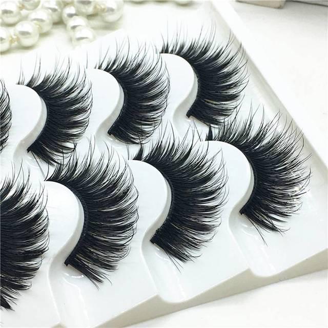 5 Pairs artificial 100% mink Corner Thick False Eyelashes Blue Black Long Thick Cross Handmade eye lashes makeup