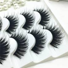 5 pares artificial 100% vison canto grosso cílios postiços azul preto longo grosso cruz artesanal cílios de olho maquiagem