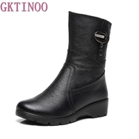 Snow Boots 2018 Women Winter Boots Mother Shoes Antiskid Genuine Leather Women Fashion Casual Boots Plus