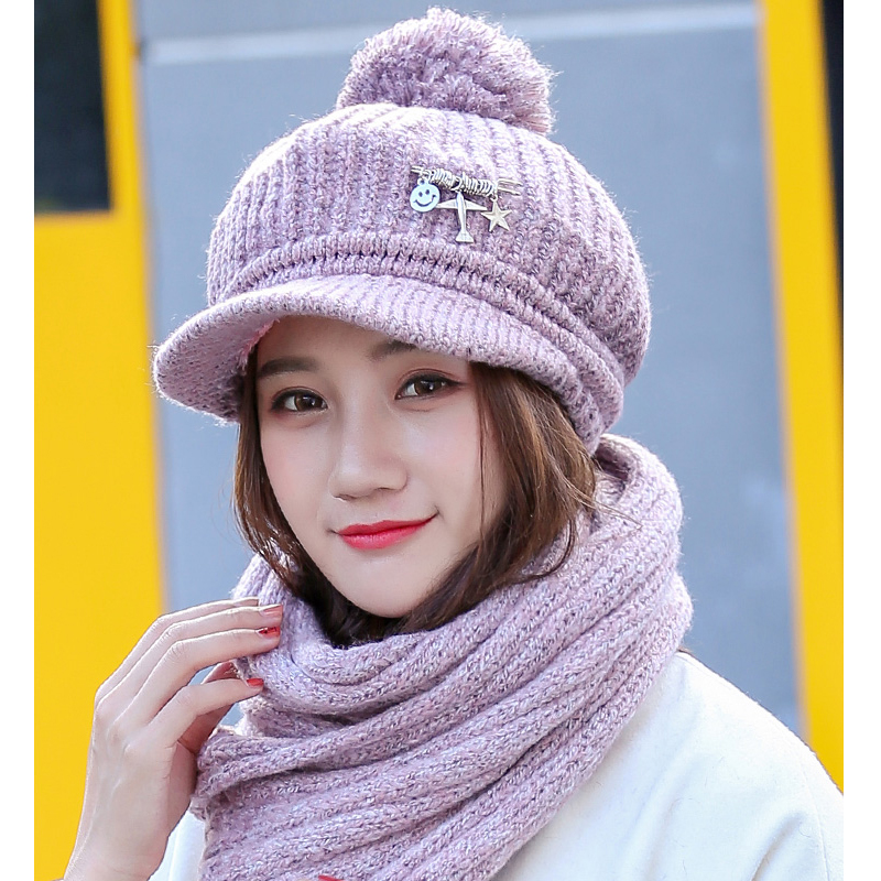 Kangemo Winter Women Keep Warm Cap Scarf Fashion Outdoor Thermal Female Twinset Thick Wool Knit Cap Scarf Twinset