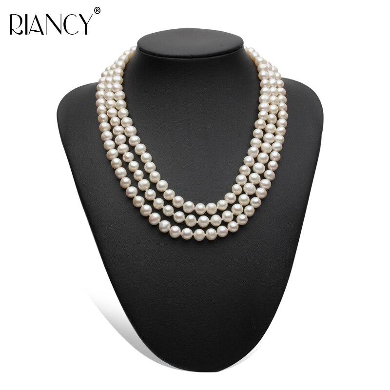 Collier de perles d'eau douce multicouches classique de mariage colliers de perles naturelles bijoux en argent femmes maman anniversaire meilleur cadeau blanc