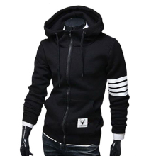 Men's Warm Hoodie Sweatshirt Zipper Maverick Coat White Winter Jacket Stripes Casual Outwear Fashion Hoodie Sportswear Jumper