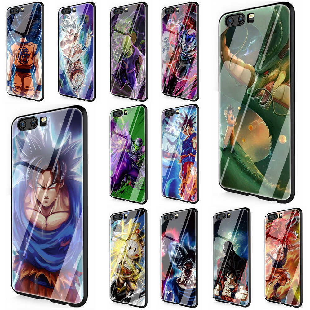 Dragon ball Z Tempered Glass TPU Cover Case for Huawei P10 P20 Mate 20 Honor 9 10 Lite Pro 7A 8X P Smart