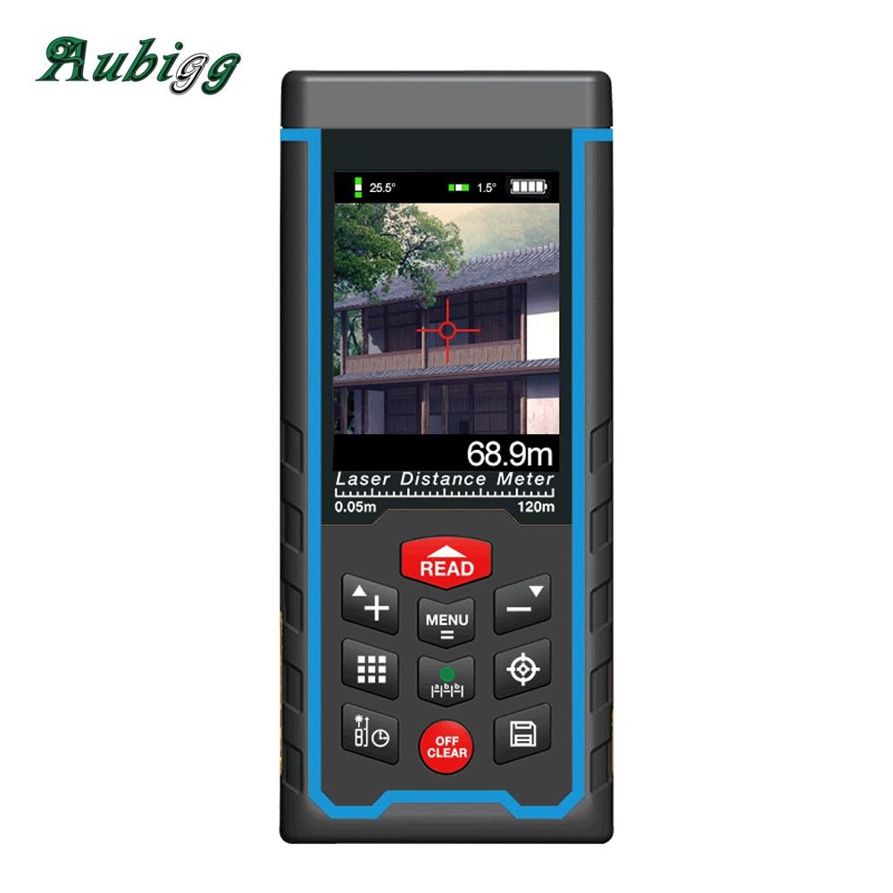 Aubig Camera Tape USB Color Display Rechargeabele Laser Distance Mete Laser Rangefinder Range Finder 120M 100M