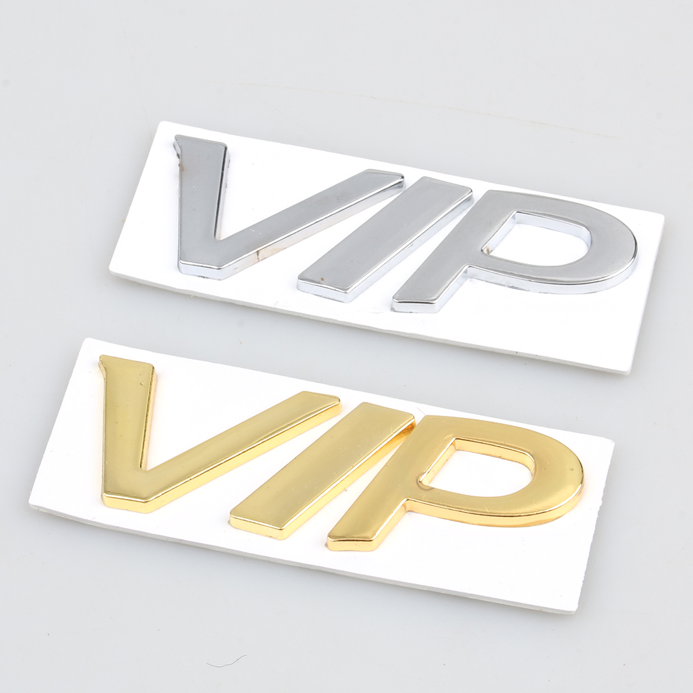1pcs Chrome Sliver Gold Metal 3D VIP Logo Decal Sticker Emblem Use For BMW Mercedes Jeep Honda Auto Car Styling Accessories with logo sliver