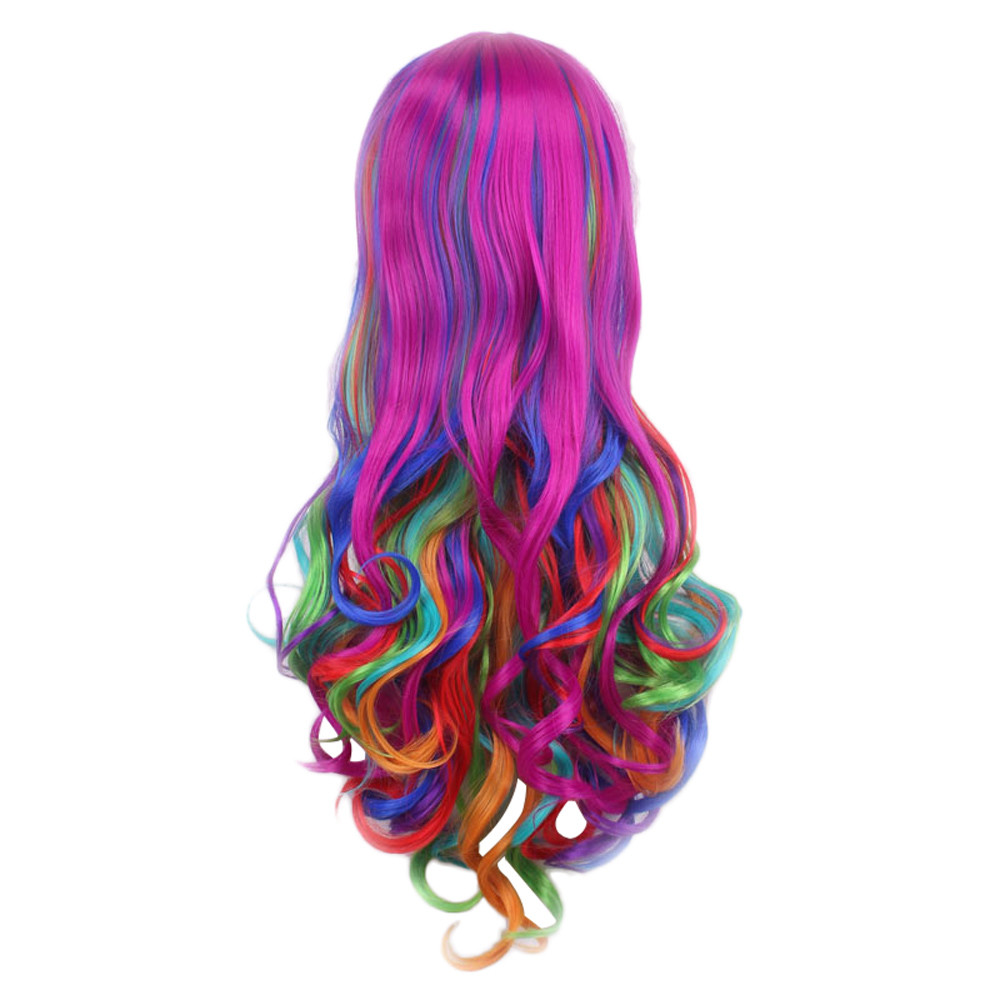 Top Fashion Long Rainbow Wavy Cosplay Hip Hop Wig For Women Girl DIY Party Colorful Fiber Synthetic Wig Gift Dropshipping