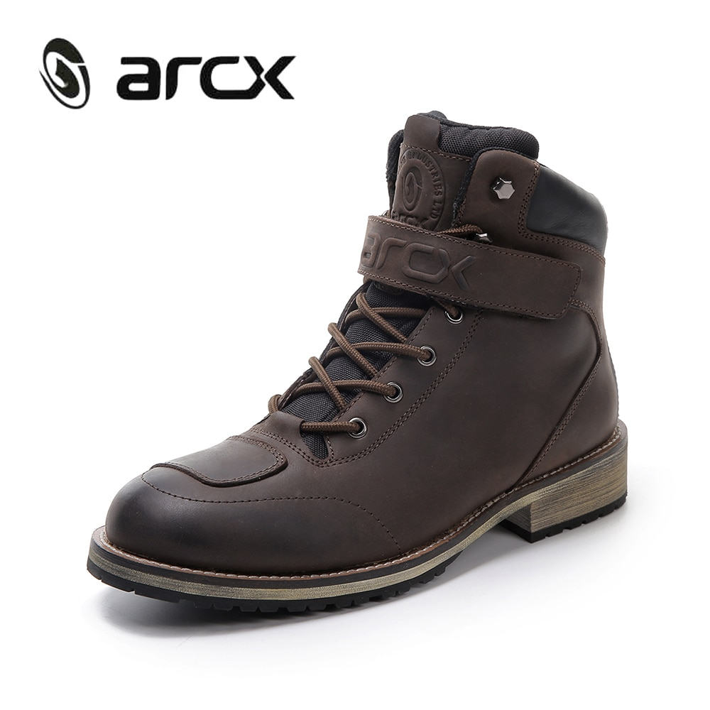 17f2abc7c2 ARCX botas de cuero para hombre Botas de cuero impermeables para hombre  calzado de Moto botas de viaje zapatos de Moto botas de tobillo Vintage  L60594