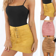 Women Leather Suede Lace Up Bandage High Waist Party Pencil Short Mini Skirt Ladies Womens Brief Solid Daily Skirts cheap hirigin Women High Waist Short Mini Skirt Polyester Casual None Empire Above Knee Mini