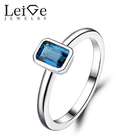 Leige Jewelry London Blue Topaz Rings for Women Anniversary Ring Sterling Silver 925 Emerald Cut Gemstone Fine Jewelry