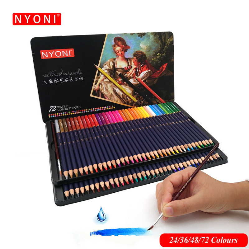 NYONI 12/24/36/48/72Colors Watercolor Pencils Set Drawing Colored Pencils Lapices De Colores Art Sketch Colour Pencil