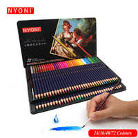 NYONI 12/24/36/48/72Colors Watercolor Pencils Set Drawing Colored Pencils Lapices De Colores Art Sketch Colour Pencil