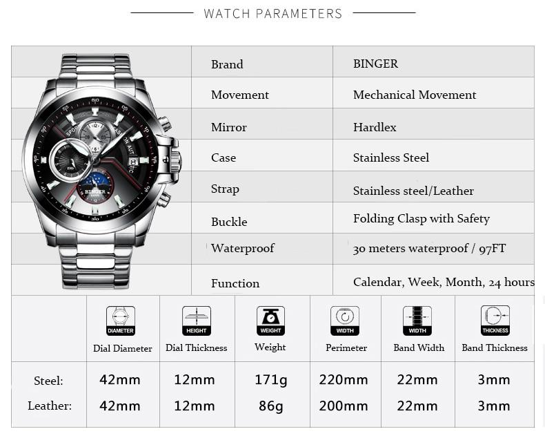 New Luxury Brand BINGER Watches Men Automatic mechanical  Watch Fashion week Date Watch Reloj Hombre Sport Clock Male relogio