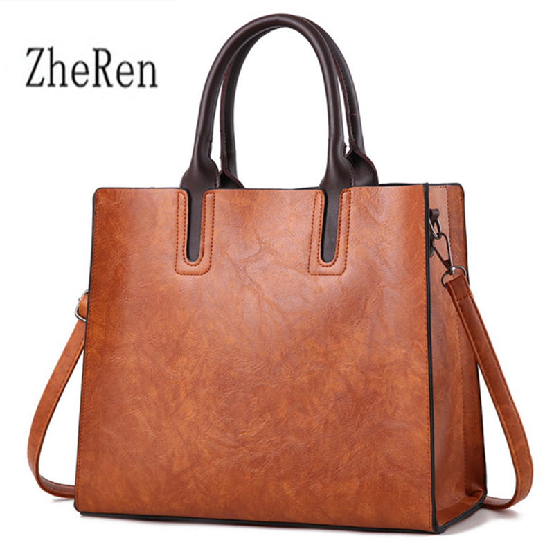 Zhe Ren Leather Handbags Big Women Bag High Quality Casual Female Bags Trunk Tote Shoulder Bag Ladies Large Bolsos charmiyi 2018 designer high quality leather women handbags large capacity female messenger bags casual ladies shoulder bag tote