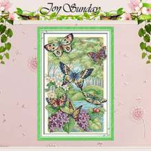 Butterflies Fly in the Forest Counted Cross Stitch 11CT 14CT Cross Stitch Sets Wholesale Cross-stitch Kits Embroidery Needlework(China)