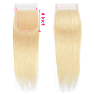 Image 5 - Gabrielle Blonde Hair Lace Closure Brazilian Straight Human Hair Color 613 T1b/613 Closure 100% Remy Hair Extensions 8 22 inch