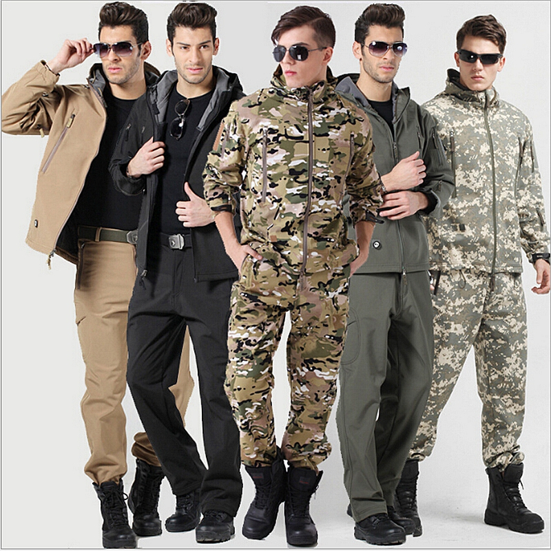 High Quality Gear Military Tactical Jacket+Pants TAD Men Waterproof Windproof Coat Sets Hunting Camouflage Army Clothing lurker shark skin softshell v4 military tactical jacket sets men women waterproof windproof warm coat pants camouflage clothing
