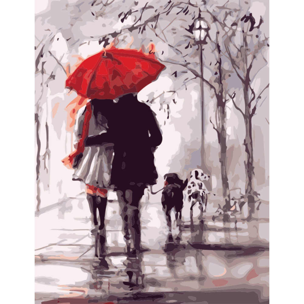 DIY PBN Rainy Day Arcylic Painting By Numbers On Canvas Framed Wall Pictures Art For Living Room Home Decoration