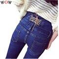 2016 Moda Jeans Mujer Lápiz Ocasional Azul Cuatro Botones de Cintura Alta Pantalones Vaqueros Flacos del Dril de algodón de Las Mujeres Más Tamaño NS1650