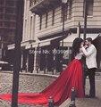 Женщины 2 Шт. Красный белое свадебное Платье с Часовня Поезд весна Формальный Банкетный Платья Наряды Цветочные Растениеводство Топ Пром Платья 2016