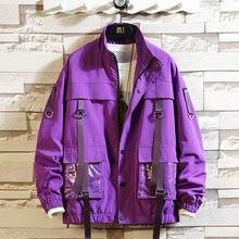 Chic mens safari style jacket loose boys coat zipper up students