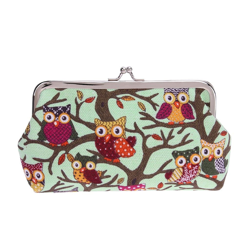 Wallet Coin Bag Printing Owl Canvas Change Purse Clutch Bag Cartoon Handbag Cartoon Card Holder Clutch Bag Small Purse Female
