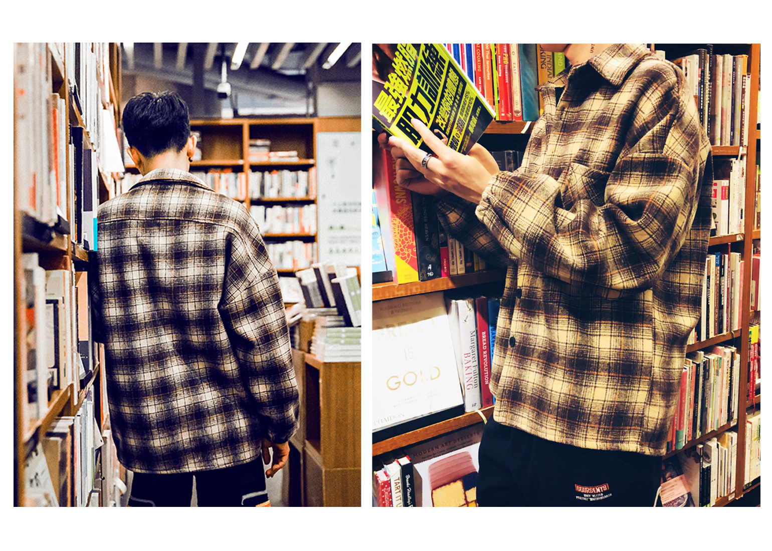 Men's Shirt Plaid Stitching Long Sleeve Shirts Streetwear Tops Wool Thicker Warmth For Adolescents Boys Autumn Winter Thicken