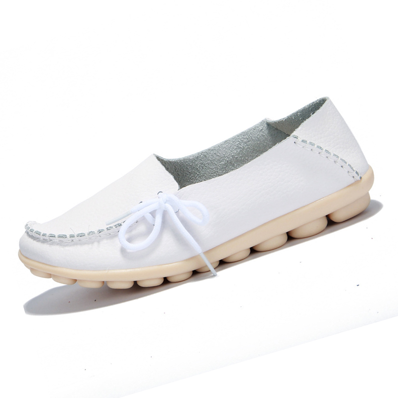 soft Leather Moccasins Women Leisure casual Flat Shoes Mother driving loafer Shoes Plus Size, White bimuduiyu new england style men s carrefour flat casual shoes minimalist breathable soft leisure men lazy drivng walking loafer